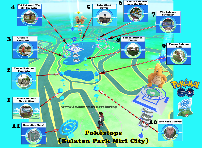 List of Pokstops in Bulatan Park Miri City