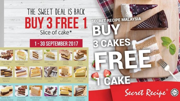 Secret recipe buy 3 free 1 slice of cake promotion date1 30 september 2017 forumfinder